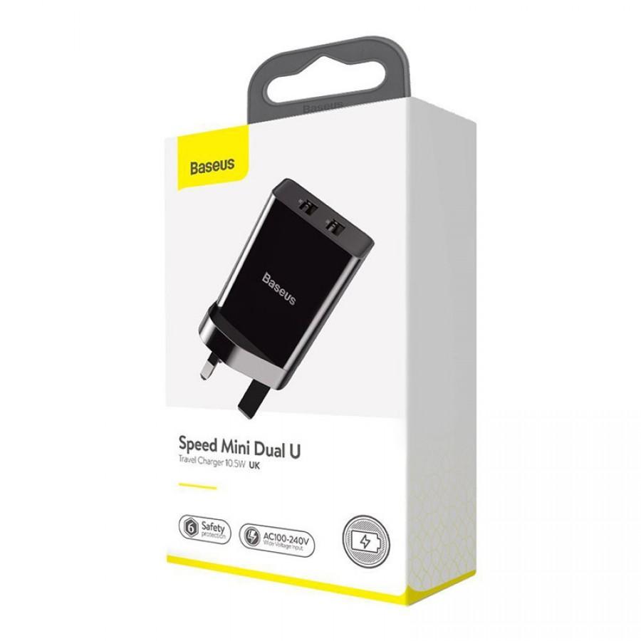 Baseus Speed Mini Daul U Travel Charger 10.5W UK – Black (CCFS-S01)