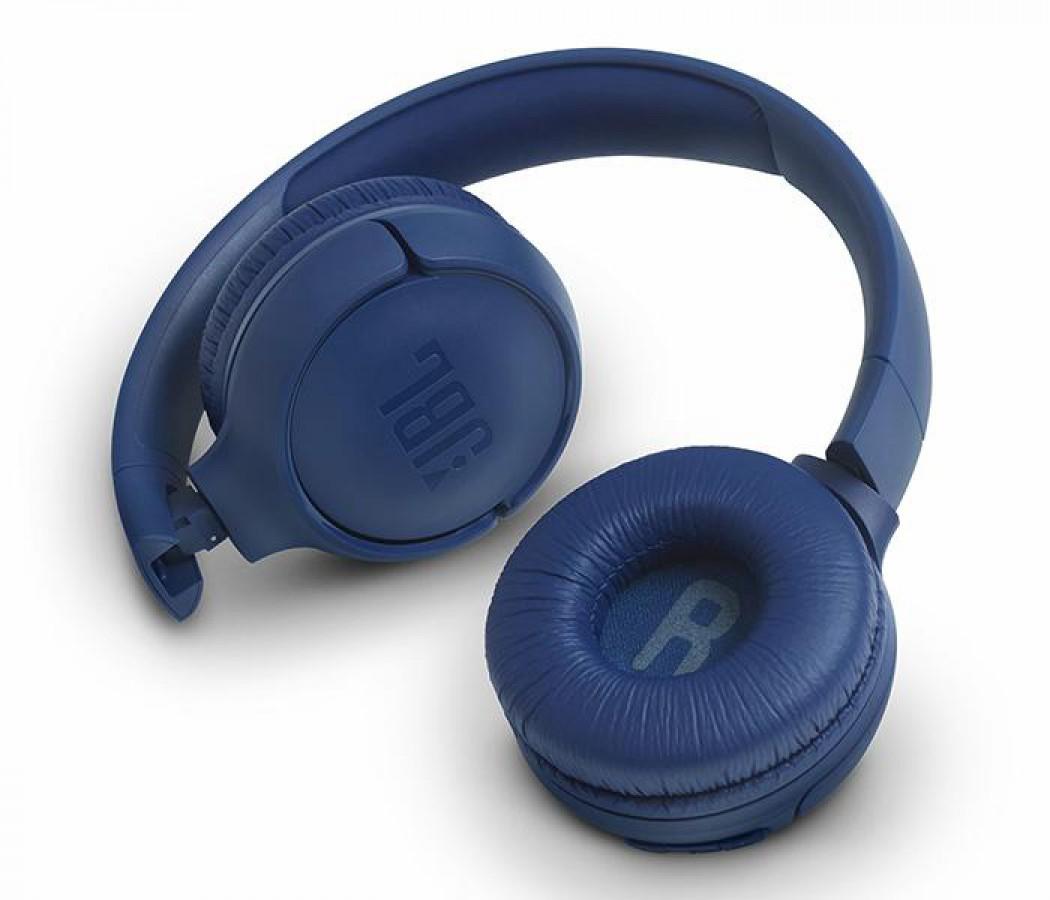 JBL T500 Wireless On-Ear Headphones white Mic – Blue
