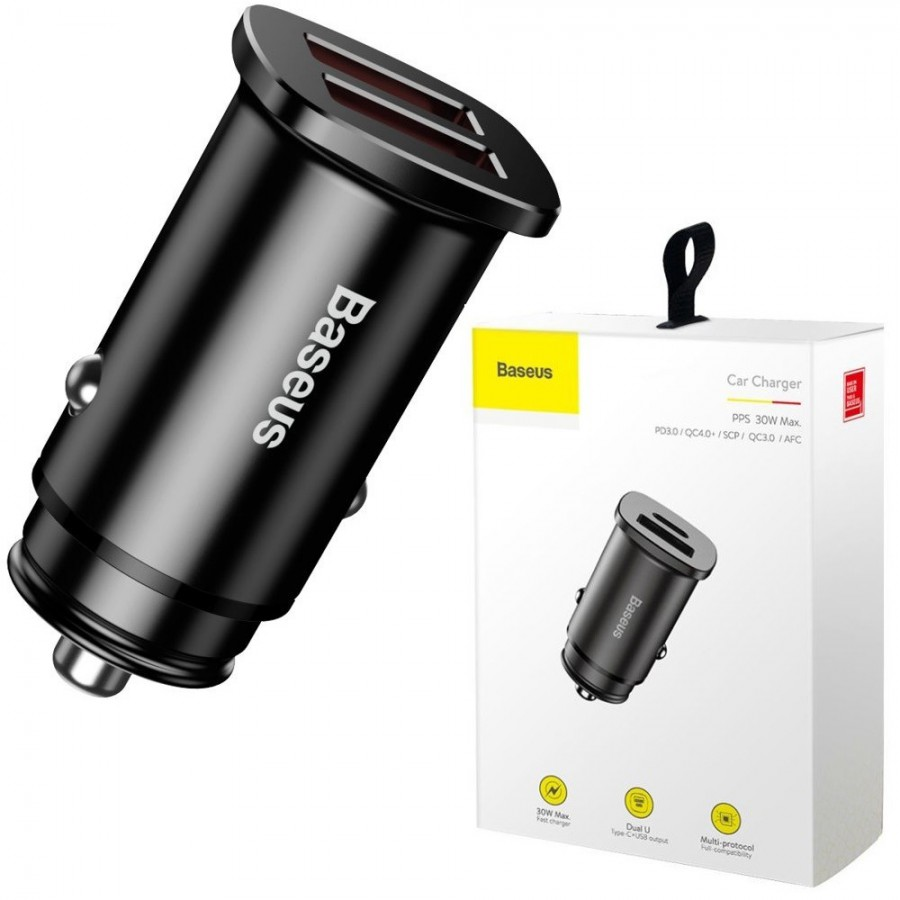 Car charger Baseus Square metal A+A 30W Dual QC 3.0 Quick Charge Fast Flash universal #DS01CCALL-