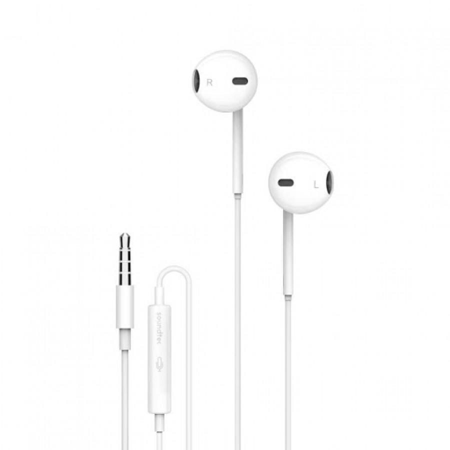 Porodo Soundtec Stereo Earphones 3.5mm with High- Clarify Mic – White