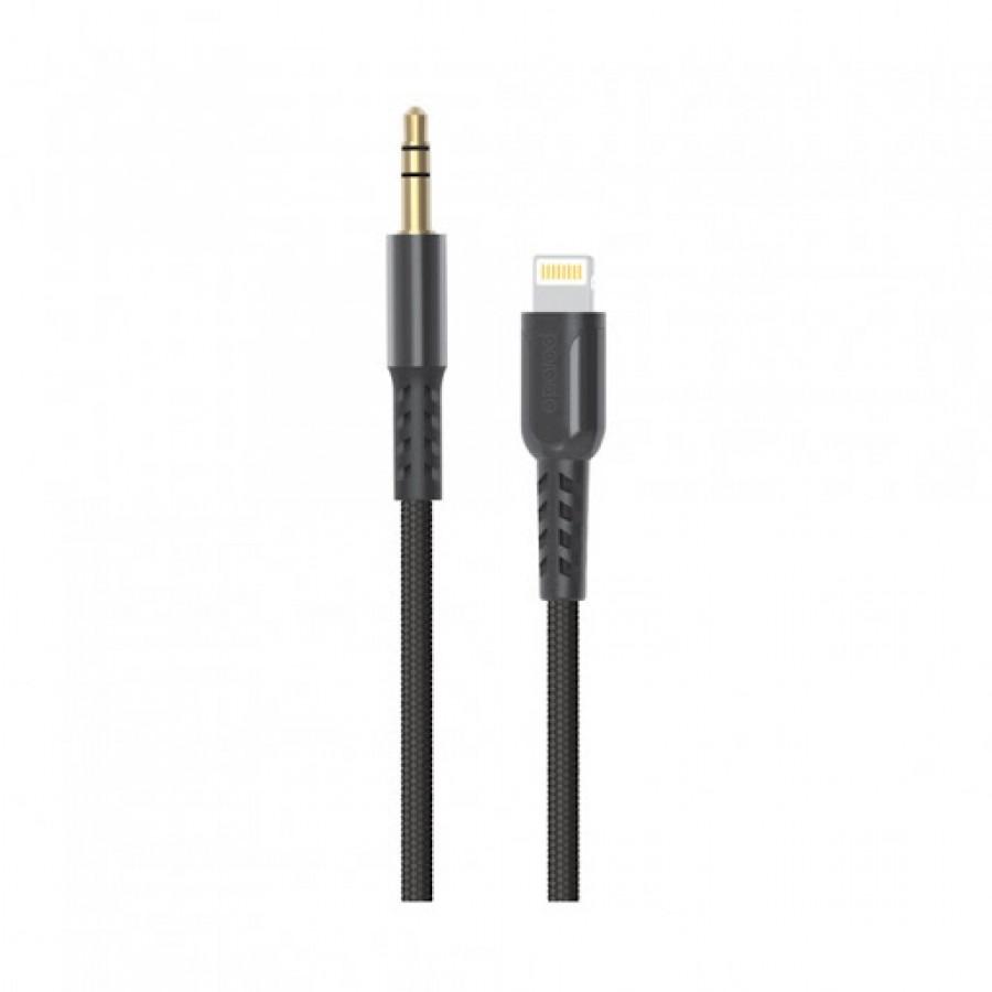 Porodo Lightning To AUX Braided Metallic 1.2 Black