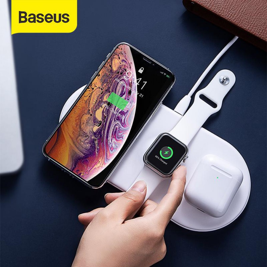 Baseus Smart 3in1 Wireless Charger For Phone+Watch+Pods(18W MAX)Black#WX3IN1-C01