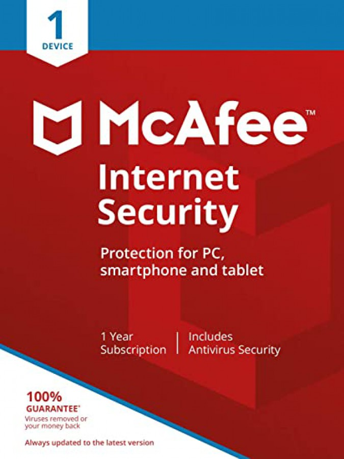 McAfee internet security – 1 Device installation – 1 year protection
