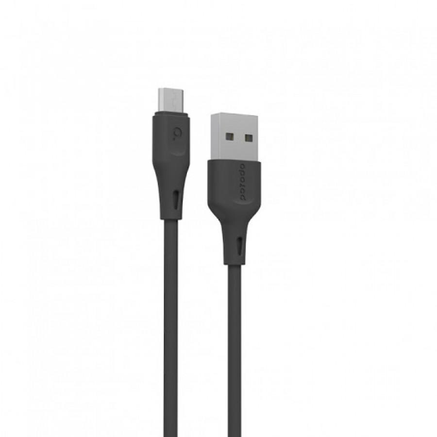 Porodo New PVC Micro USB Cable 2m 2.4A – Black